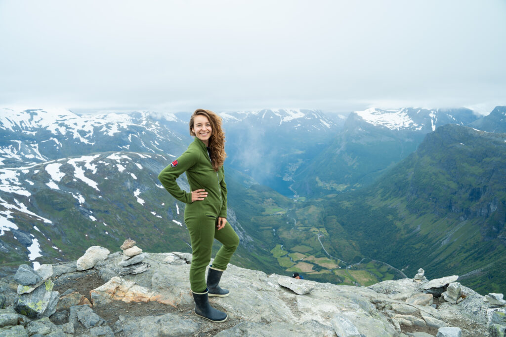 Annie on mountain top over Geiranger